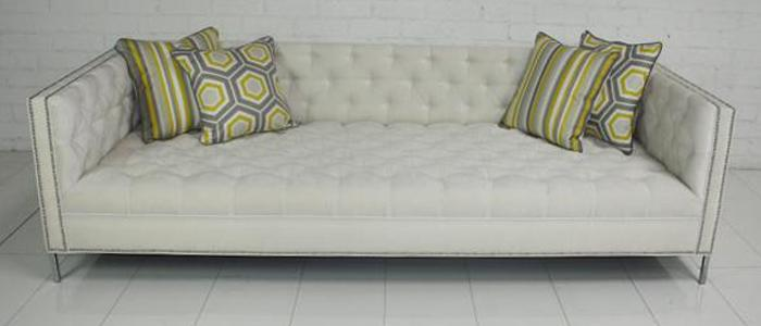 New Deep Tufted Sofa in Ivory Velvet