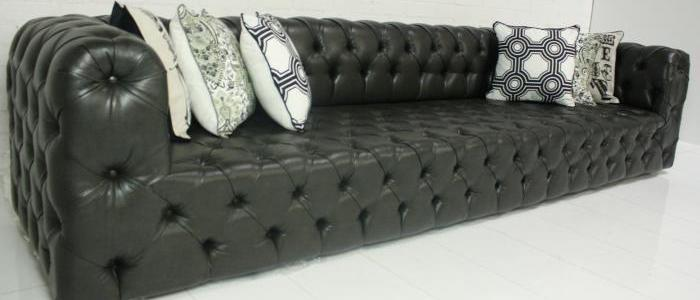 Palm Beach Sofa-Faux Charcoal Leather
