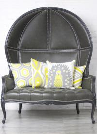 Balloon Chair Loveseat in Charcoal Gray Faux Leather