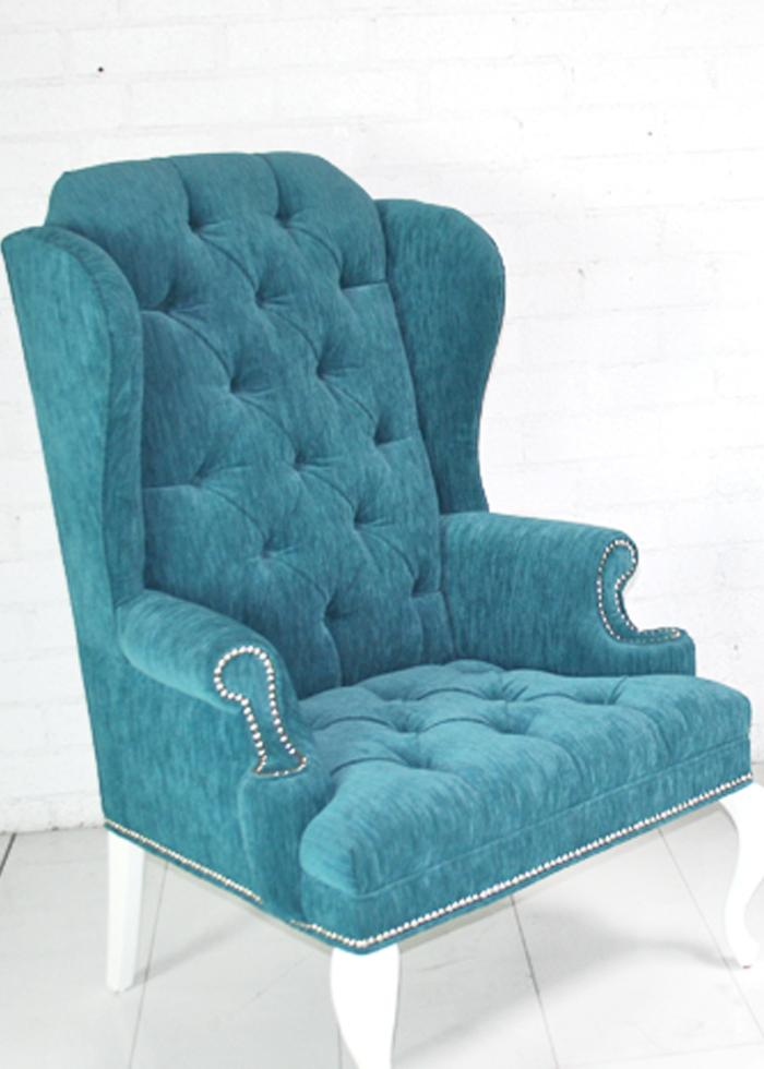 Marvelous Brixton Wing Chair In Turquoise Textured Velvet