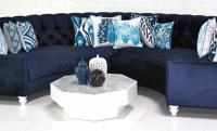Navy Velvet Circle Sectional