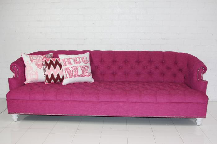Pink Tufted Sofa Exciting Pink Linen Tufted Vintage Style