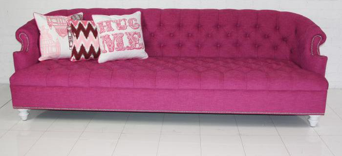 High Quality Bel Air Hot Pink Tufted Sofa