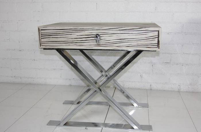 Rocker Side Table-White Macassar Wood