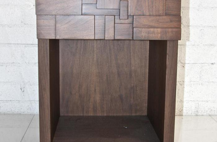 Mondrian Walnut Side Table with One Drawer