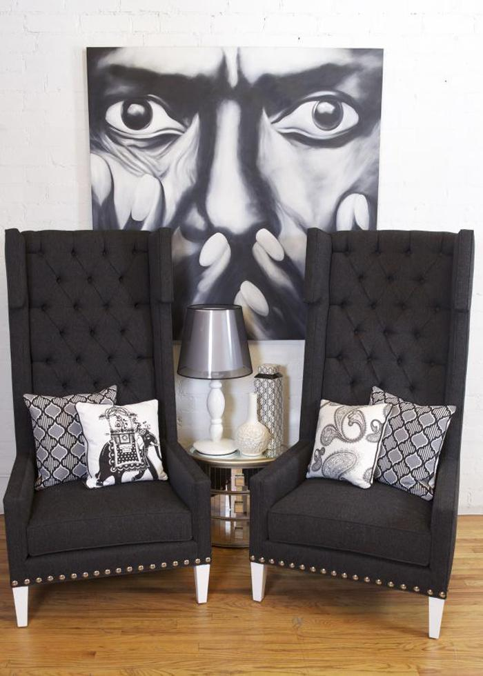 Tangier Wing Chair Dark Gray Tweed