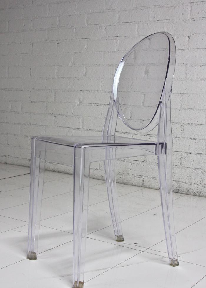 Captivating Acrylic Louis Style Chair Armless