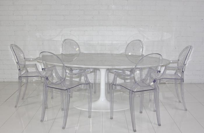 0411298dbe24 www.roomservicestore.com - Eero Saarinen Style Oval Marble Dining Table