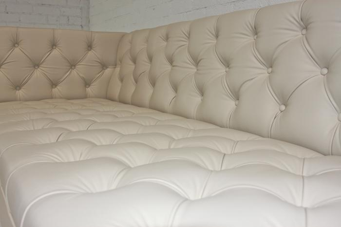 Koenig Faux Cream Leather Sofa