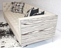 Koening Leather Cream Sofa