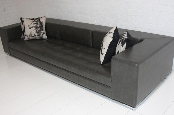 Fat Boy Sofa in Faux Charcoal Leather