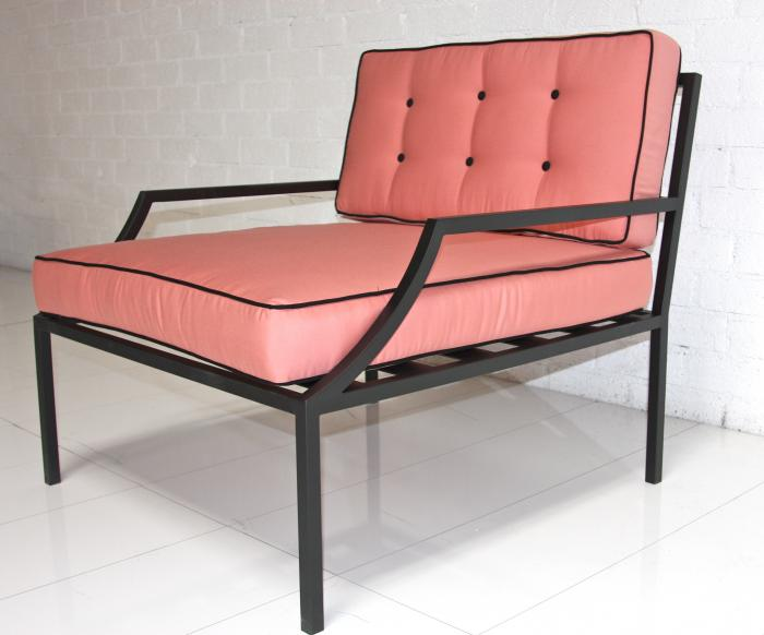 Beau Hollywood Oversized Outdoor Chair In Pink With Black Piping
