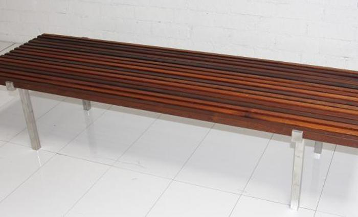 Lautner Outdoor Bench with Stainless Steel Legs and Ironwood Slats