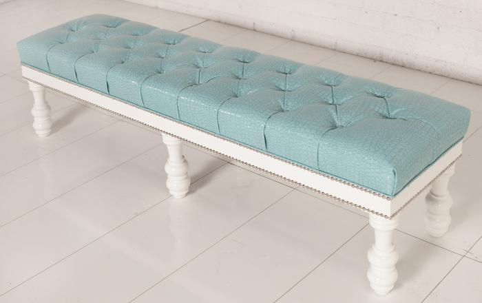 Bel Air Bench in Aqua Croc