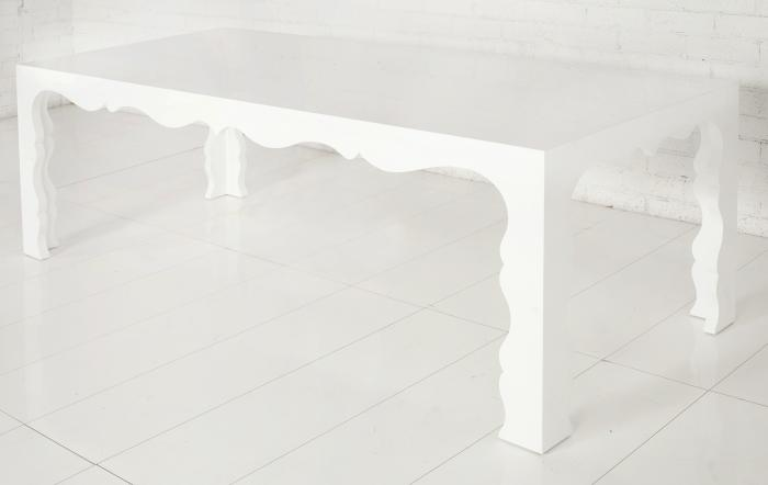 Superbe Baroque Dining Table   White Lacquer