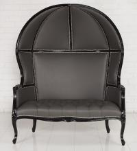 Louiseat Balloon Loveseat in Charcoal Leather