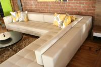 RMS Sectional in Doe Faux Leather