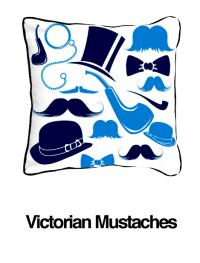 Victorian Mustaches Blue (Temporarily Out of Stock)