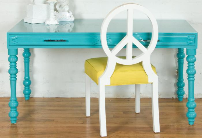 Aqua Hollywood Desk from Room Service Store with Peace Chair