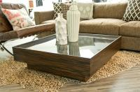 Macassar / Smoke glass Floating Box coffee table