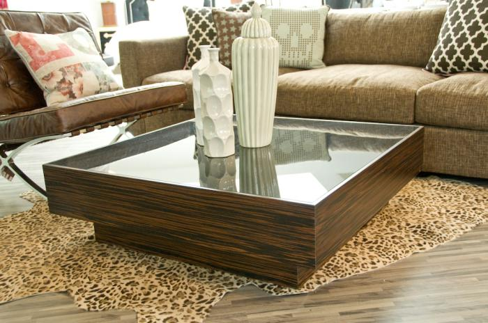 Macassar Smoke Glass Floating Box Coffee Table
