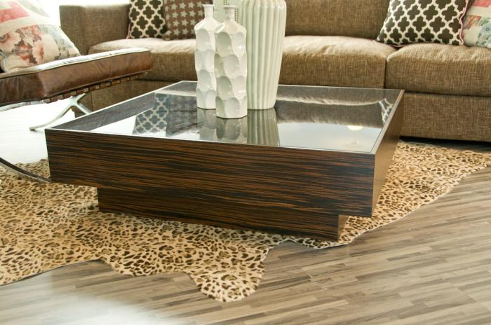 Macassar smoke glass floating box coffee table Glass box coffee table