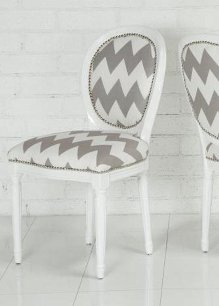 Chevron Print Louis Dining chair