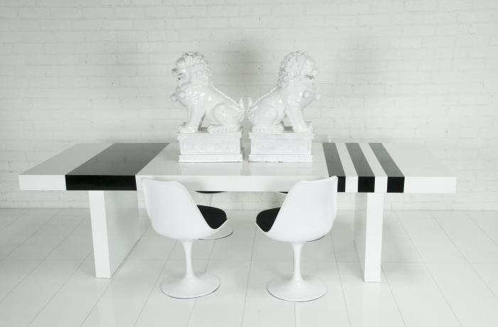 Custom Black&White striped Plinth Dining Table