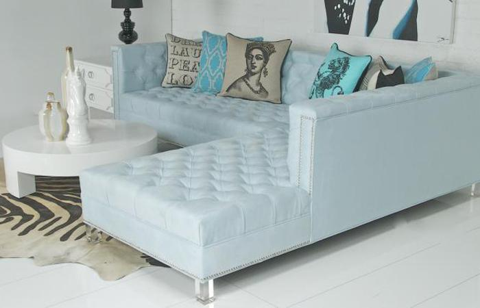 Hollywood Sectional - Ice Blue UltraSuede