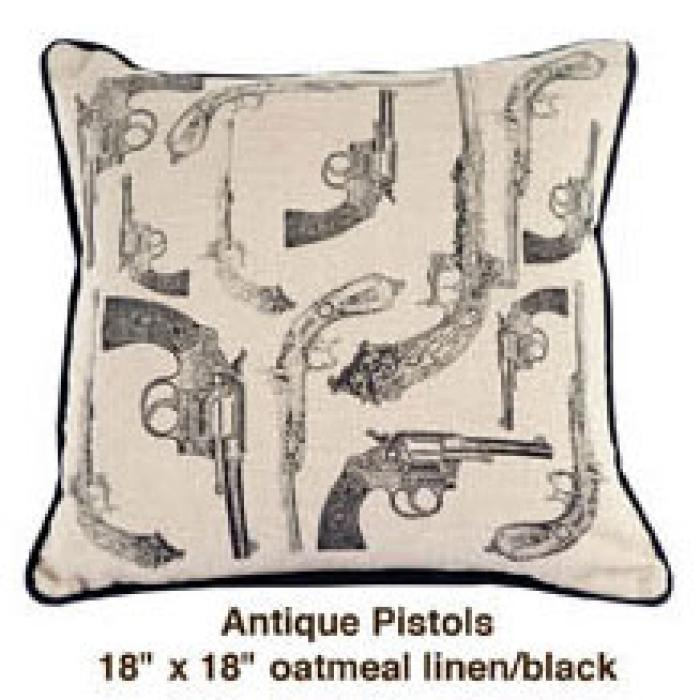 Antique Pistols Oatmeal Linen / Black