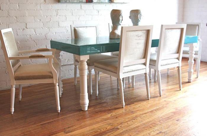 Aqua Glass Mixed Up Dining Table