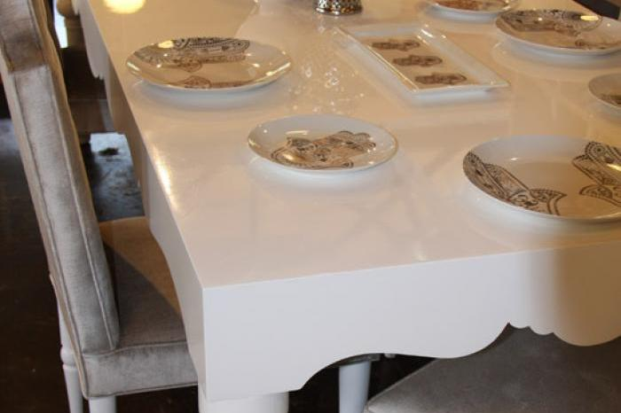 Bel Air Dining Table in High Gloss White