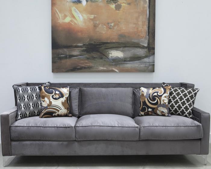 Beverly Hills Sofa In Charcoal Velvet