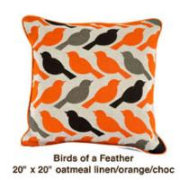 Birds of a Feather Oatmeal Linen / Orange / Choc