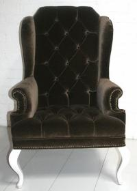 Brixton Wing Chair in Mocha Velvet