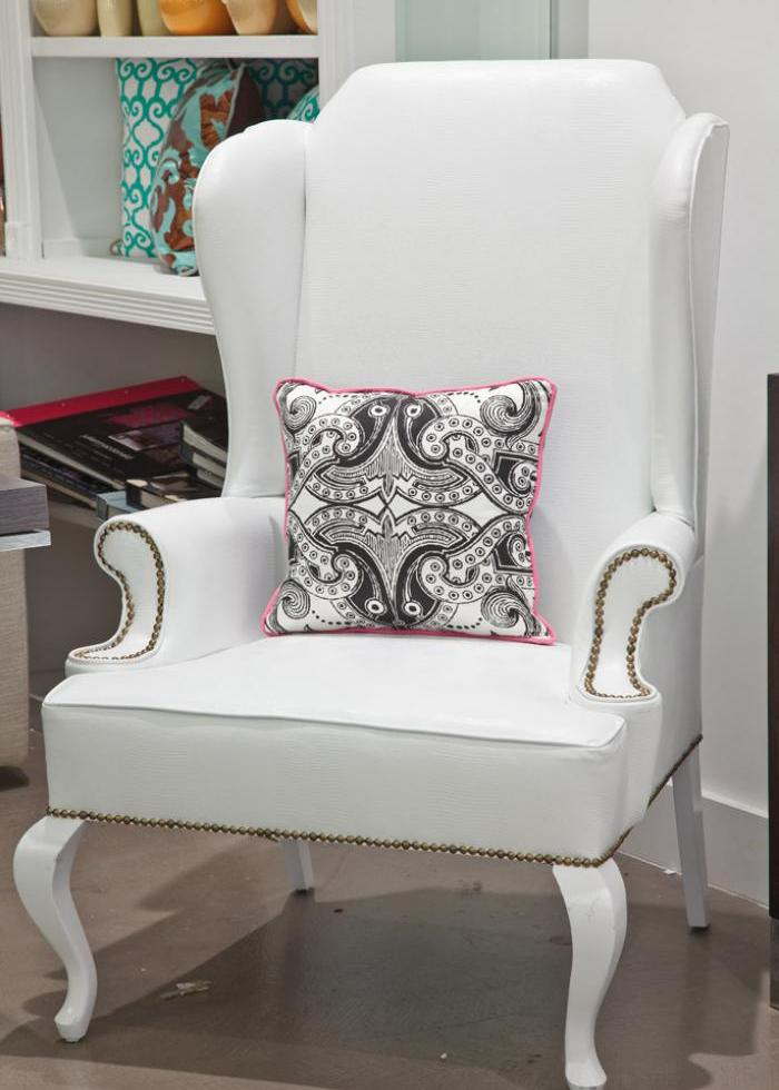 Brixton Wing Chair In White Faux Leather