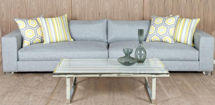 Capri Sofa in Light Silver Woven Textured Fabric