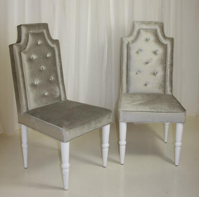 Avalon dining chair in silver for Dining room velvet chairs