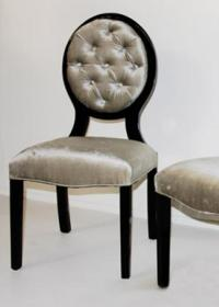 Louis Chair with High Gloss Black with Silver Velvet