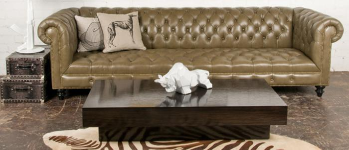 Chesterfield Sofa In Olive Faux Leather