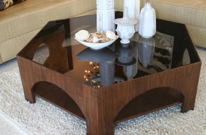 Walnut Hexagon Coffee Table - Www.roomservicestore.com - Walnut Hexagon Coffee Table
