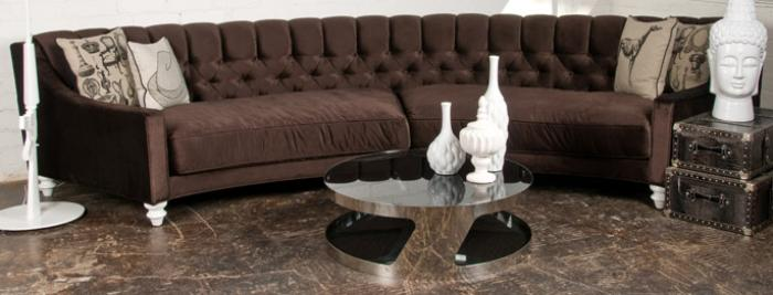 Curve Sofa in Chocolate Velvet