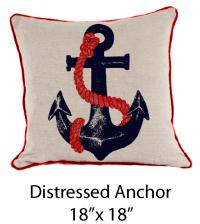 Distressed Anchor Oatmeal/Navy/Red