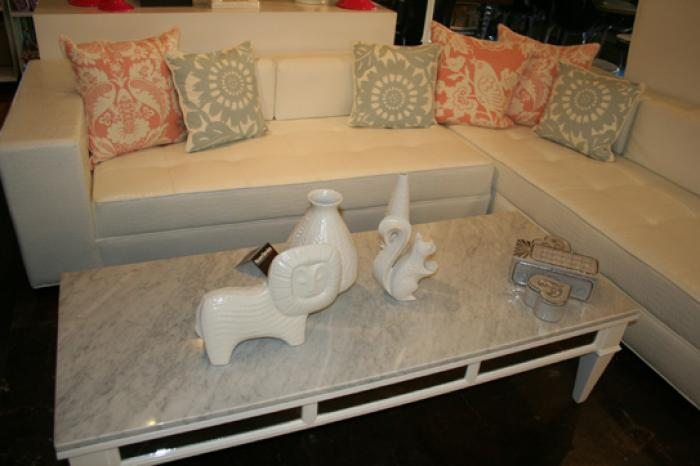 White Faux Croc Fatboy Sectional with Chaise