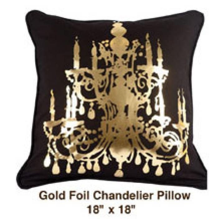Gold Foil Chandelier Pillow