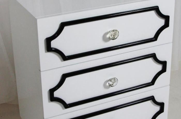 Hollywood 3 Drawer Side Table in White
