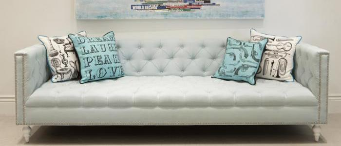 Hollywood Sofa in Ice Blue Linen
