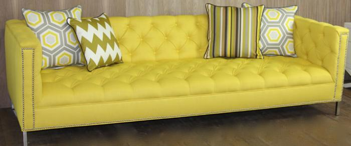 Yellow Tufted Hollywood Sofa