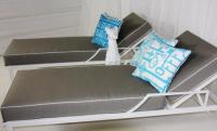 Hollywood Sunlounger in Silver with White Piping