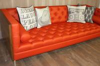 Tangerine and Walnut Koening Sofa